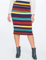 ELOQUII Stripe Rib Knit Skirt