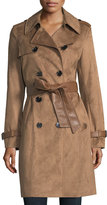 Via Spiga Double-Breasted Faux-Suede Trenchcoat