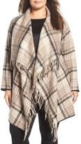 Tart Sage Plaid Drape Front Coat (Plus Size)