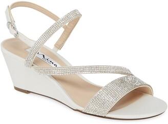 Nina Naloni Crystal Embellished Wedge Sandal