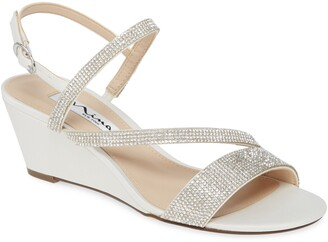 Nina Naloni Crystal Embellished Wedge Sandal