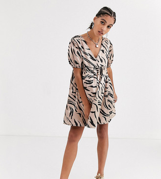 Another Reason v neck smock dress in abstract zebra satin