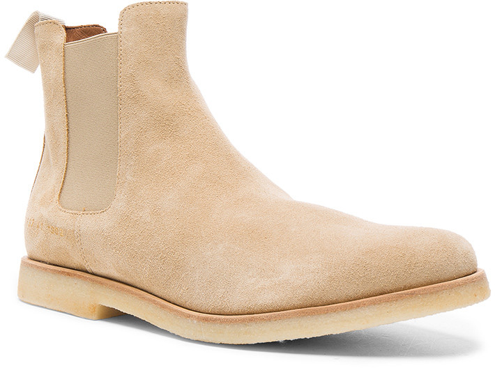 Common Projects Suede Chelsea Boots in Tan | FWRD
