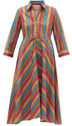 Le Sirenuse Positano Le Sirenuse, Positano - Lucy Que Onda Abstract-print Belted Cotton Dress - Pink Multi