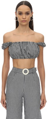 Solid & Striped Puff Sleeve Poplin Gingham Cropped Top