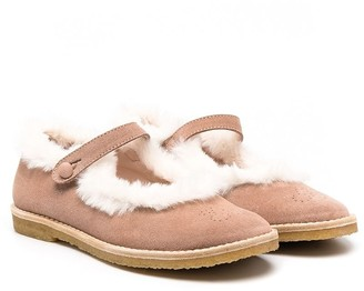 Bonpoint Shearling-Trimmed Ballerina Shoes
