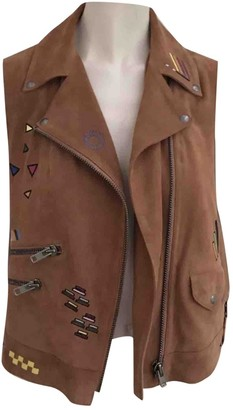 Mira Mikati Brown Suede Leather Jacket for Women