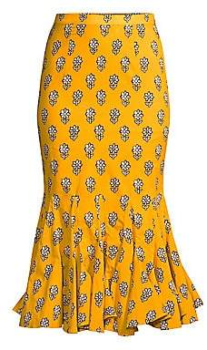 Rhode Resort Women's Sienna Fluted Floral Midi Skirt