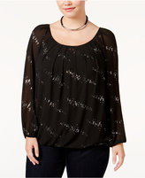 NY Collection Plus Size Embellished Blouson Top