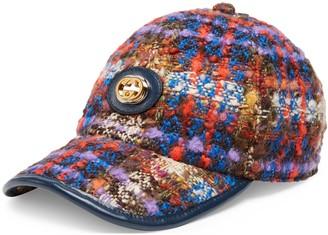 Gucci Tweed baseball cap with InterlockingG