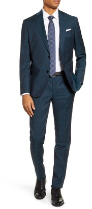 Ted Baker Roger Green/Blue Windowpane Two Button Notch Lapel Trim Fit Suit