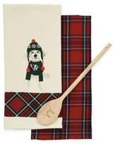 ED Ellen Degeneres Wolf Plaid 3-Piece Kitchen Towel and Spoon Set