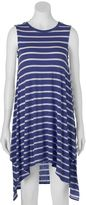 Almost Famous Juniors' Striped High-Low Swing Dress