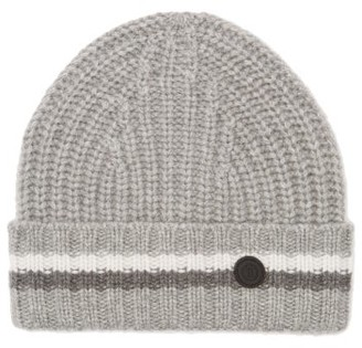 Bogner Logo-roundel Jacquard-striped Cashmere Beanie Hat - Womens - Grey