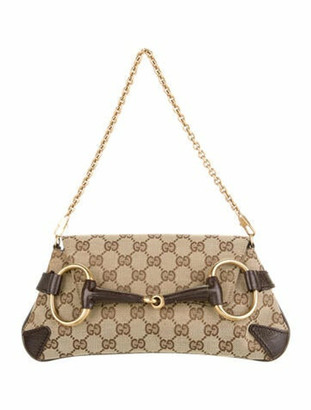 Gucci GG Canvas Horsebit Clutch Brown