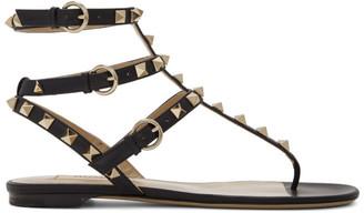 Valentino Black Garavani Rockstud Ankle Strap Flat Sandals