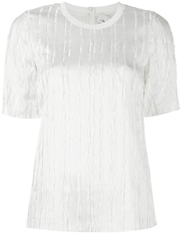 3.1 Phillip Lim fringed satin T-shirt