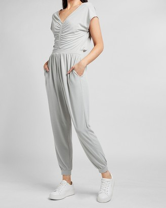 Express Silky Sueded Jersey Ruched Front Lounge Jumpsuit