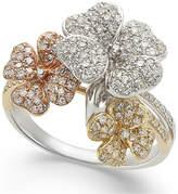 Effy Diamond Tri-Tone Flower Ring in 14k Gold (5/8 ct. t.w.)