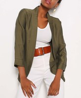 Red Queen Women's Blazers KHAKI - Khaki Three-Quarter Sleeve Open Blazer - Women