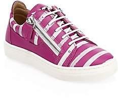 Giuseppe Zanotti Kid's Stripe Leather Sneakers