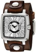 Nemesis Women's Silver 3D Squared Series Faded Brown Leather Cuff Analog Display Japanese Quartz Watch