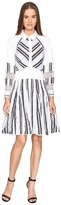 Zac Posen Long Sleeve Stripe Cotton Organdy Dress Women's Dress