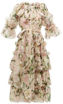 Dolce & Gabbana Lily-print Ruffled Silk-organza Midi Dress - Womens - Pink Multi