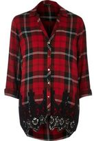River Island Womens Red check & lace shirt