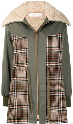 See by Chloe Checked Panel Shearling Parka