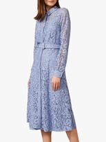 Phase Eight Autumn Lace Belted Midi Dress, Bluebell