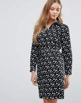 Yumi Shirt Dress In Mini Brush Stroke Print