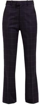 Martine Rose High Rise Checked Wool Trousers - Womens - Navy