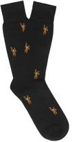 Paul Smith - Monkey-patterned Mercerised Cotton-blend Socks