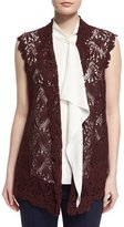 Escada Open-Front Lace Gilet, Dark Red