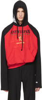 Vetements Red and Black Champion Edition Antwerpen Hoodie