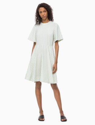 Calvin Klein Check Flared Circle Dress