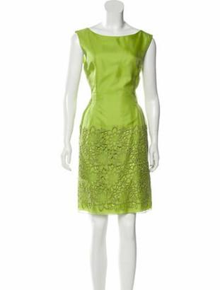 Alberta Ferretti Scoop Neck Knee-Length Dress w/ Tags Green