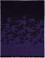 McQ by Alexander McQueen Purple Wool Swallows Scarf
