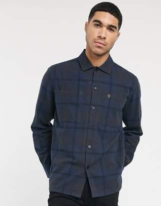 Farah Ramona slim fit brushed cotton check shirt in black