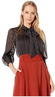 Rebecca Taylor Long Sleeve Lurex Stripe Top