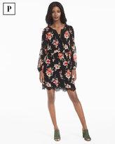 White House Black Market Petite Long-Sleeve Lace Inset Floral Print Dress