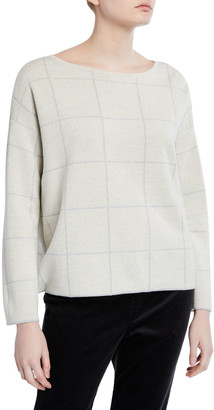 Eileen Fisher Plus Size Windowpane Merino Wool Bateau-Neck Sweater