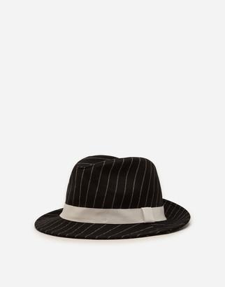 Dolce & Gabbana Pinstripe Woolen Fabric Fedora Hat