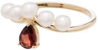 Anissa Kermiche 14kt gold Age Of Innocence pearl and garnet ring