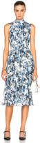 Erdem Yasmini Blue Hill Garden Silk Voile Dress