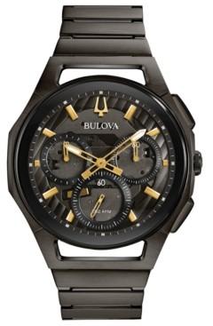 Bulova Men's Chronograph Curv Gray Stainless Steel Bracelet Watch 44mm