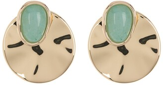 Halogen Gold-Tone Plated Disc Dyed Jade Stone Stud Earrings