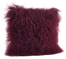 "Saro Lifestyle Wool Mongolian Lamb Fur Throw Pillow, 16"" x 16"""