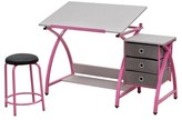 studio designs Comet Craft Table with Stool - Pink/Spatter Gray